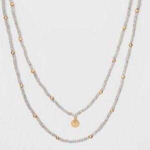 Blue & Gold Glass Beaded Double Row Necklace